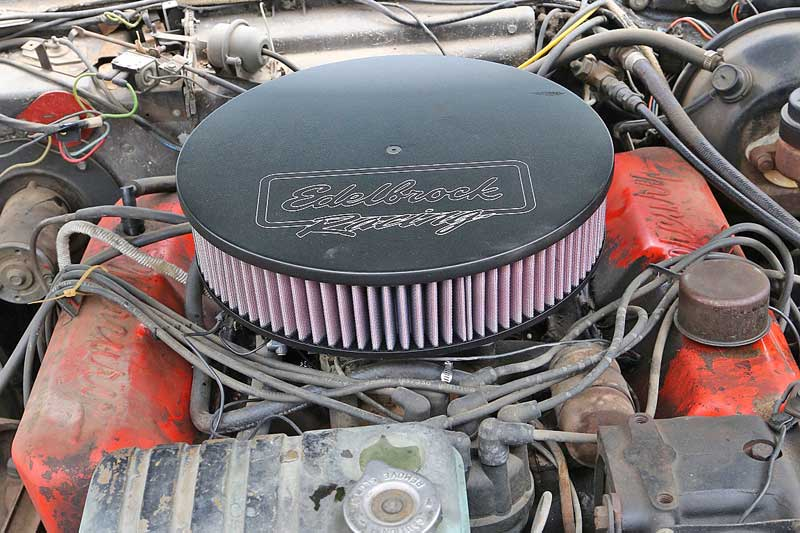 We topped off the new carburetor with a cool Edelbrock Racing open-element air filter. The acceleration is much more crisp than before the swap.