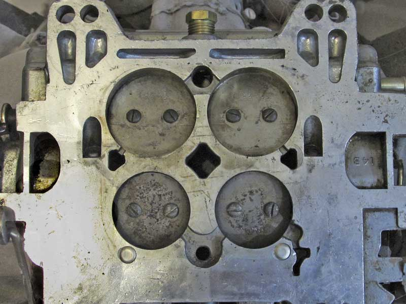 This Edelbrock carburetor uses larger secondaries (top) and smaller primaries (bottom) for better low-rpm fuel economy.