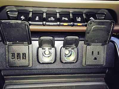 Automotive outlets in a pickup truck. Photo courtesy of Matt Keegan