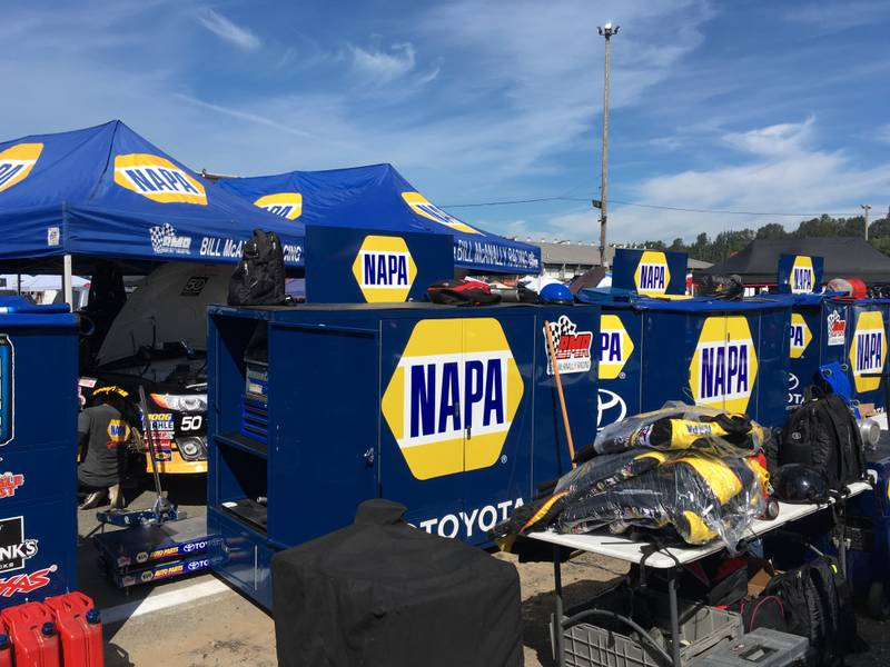 Bill McAnally Racing Evergreen Speedway 2016 NAPA AUTO PARTS 150 toolboxes tents