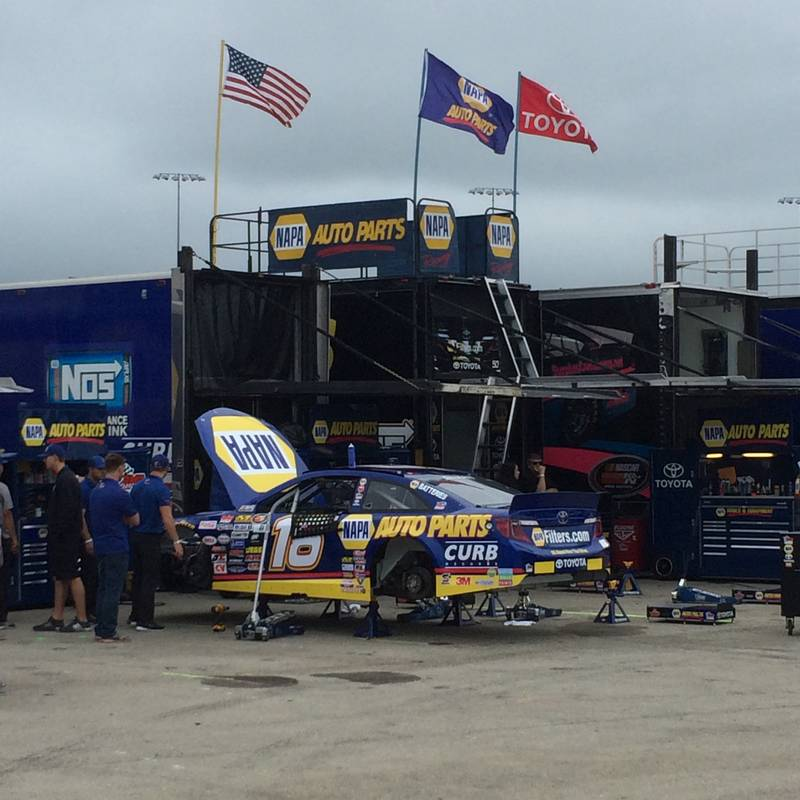 NASCAR K&N Pro Series East-West Combo Race Iowa Speedway 2016 Todd Gilliland NAPA AUTO PARTS Garage area
