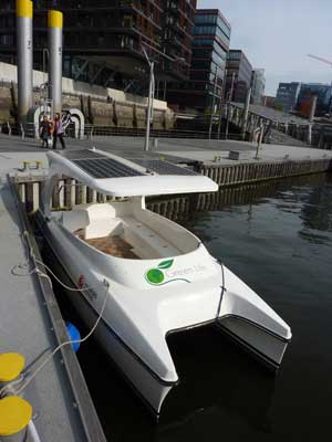 Solar boat with solar battery chargers