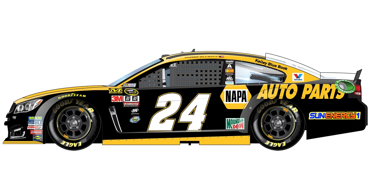 NAPA 24 Chase Elliott Darlington throwback paint scheme 2016 assurance of quality