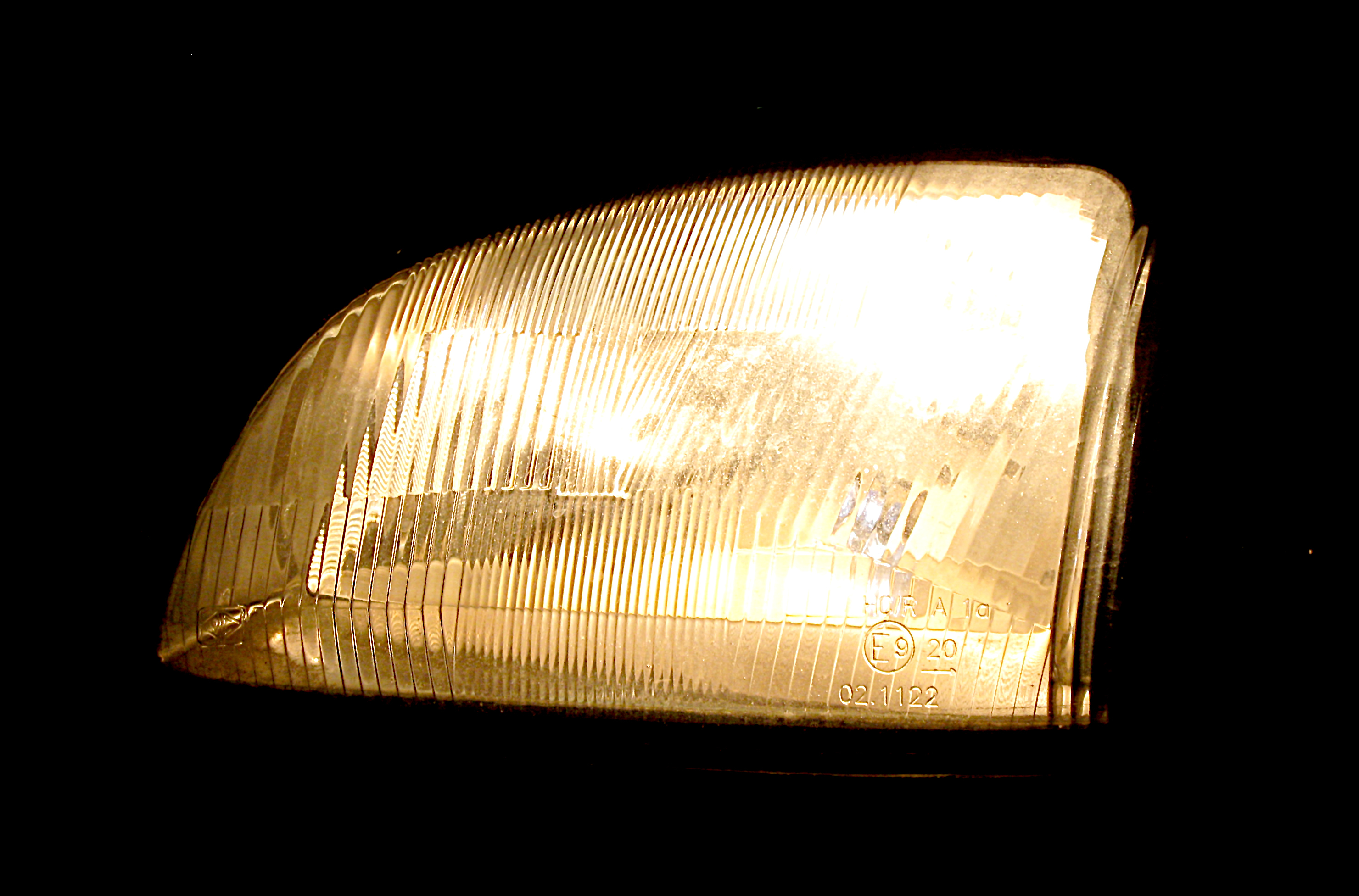Yellowed headlight