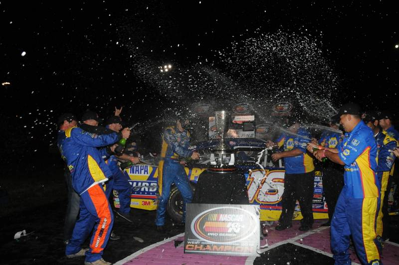 Todd Gilliland K&N West Championship 2016 NASCAR Roseville VL team spraying bubbly