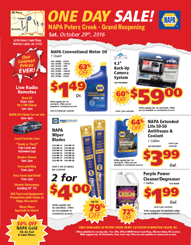 Winston sale napa grand reopening flyer