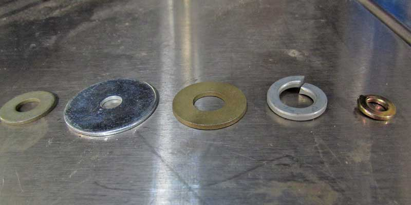The common washer types - fender, standard, and lock. The color matches the bolt grading.