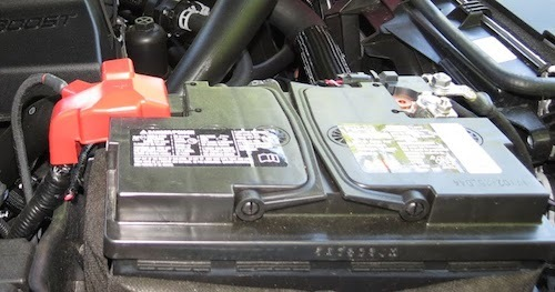 A car battery in a Ford. Winter Car Storage
