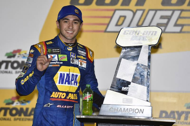 2017 NASCAR Monster Energy Cup - Can-Am Duels Daytona International Speedway, Daytona Beach, FL USA Thursday 23 February 2017 Chase Elliott celebrates his win in Victory Lane World Copyright: Nigel Kinrade/NKP