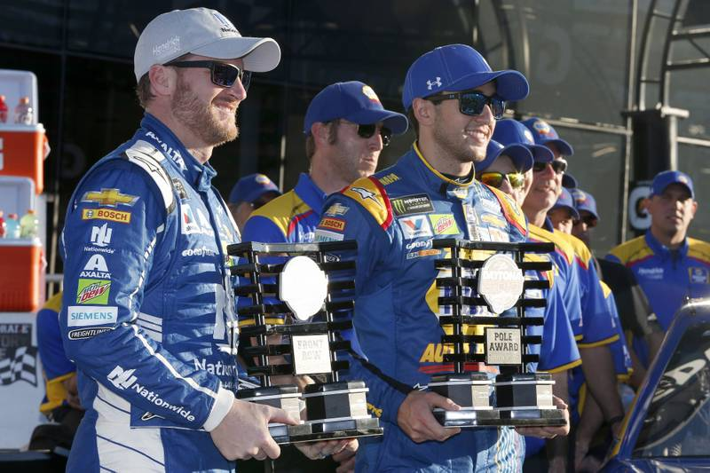 2017 NASCAR Cup - Daytona 500Daytona International Speedway, Daytona, FL USASunday 19 February 2017Dale Earnhardt Jr Chase ElliottWorld Copyright: Matthew T. ThackerNKP