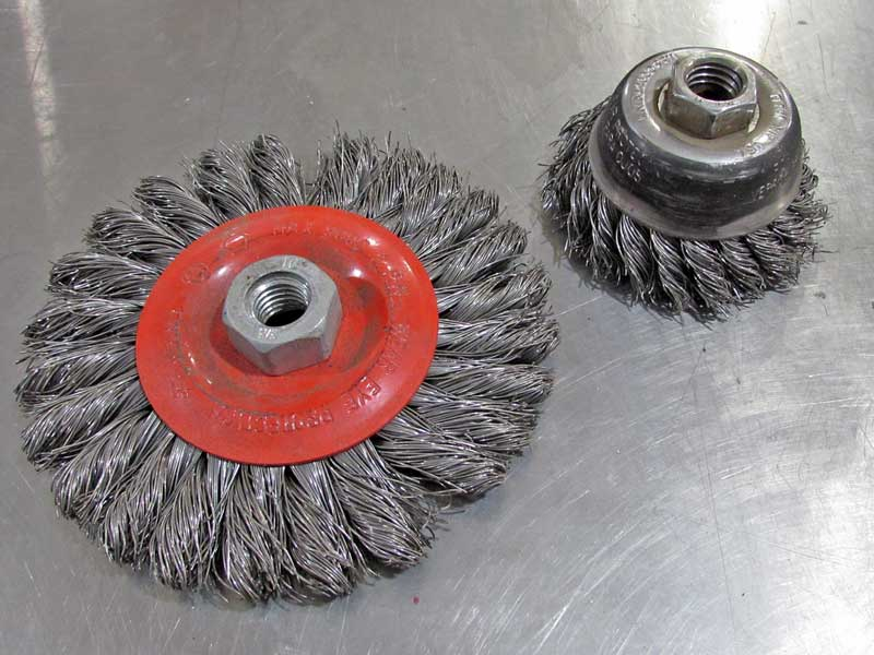 Wire wheels are a great way to strip rust and undercoating from metal.