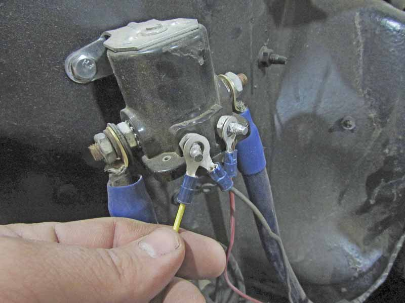 The trigger wire was connected to the starter solenoid ignition post.