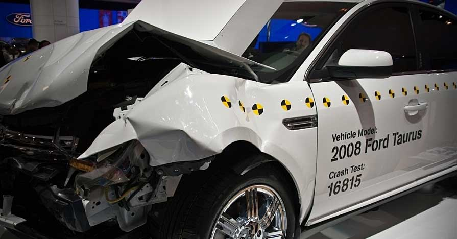 A vehicle after a crash test