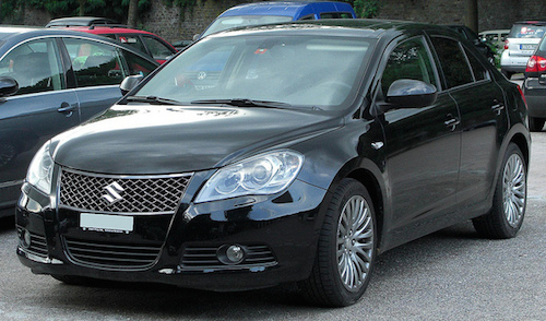 The front end of a Suzuki Kizashi.