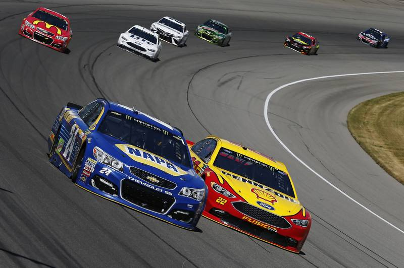 Monster Energy NASCAR Cup Series FireKeepers Casino 400 Michigan International Speedway, Brooklyn, MI USA Sunday 18 June 2017 Chase Elliott, Hendrick Motorsports, NAPA Chevrolet SS, Joey Logano, Team Penske, Shell Pennzoil Ford Fusion World Copyright: Brett Moist NKP