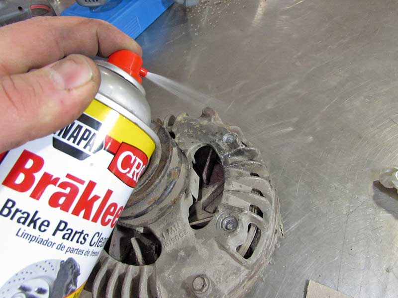 "We cleaned the area to be repaired with some <a href=""https://www.napaonline.com/en/p/CRC091314CA"" target=""_blank"" rel=""noopener noreferrer"">brake cleaner</a> and wiped it dry."
