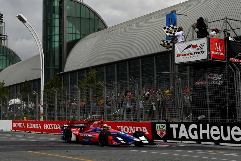 Verizon IndyCar SeriesHonda Indy TorontoToronto, ON CANSunday 16 July 2017Alexander Rossi, Andretti Herta Autosport with Curb-Agajanian Honda crosses the finish line under the checkered flag World Copyright: Scott R LePageLAT Imagesref: Digital Image lepage-170716-to-5120