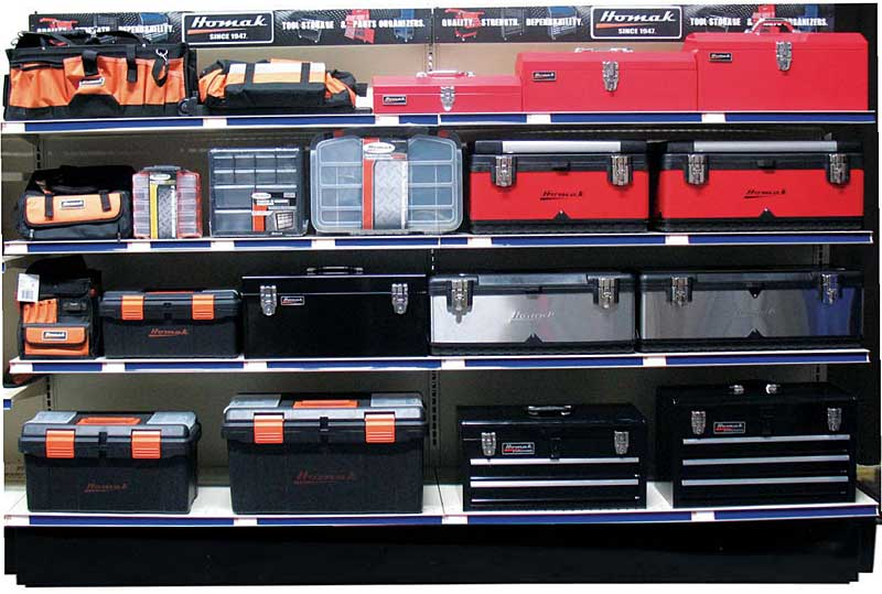 NAPA has a great selection of Homak toolboxes, you can choose plastic, canvas bag, or metal.