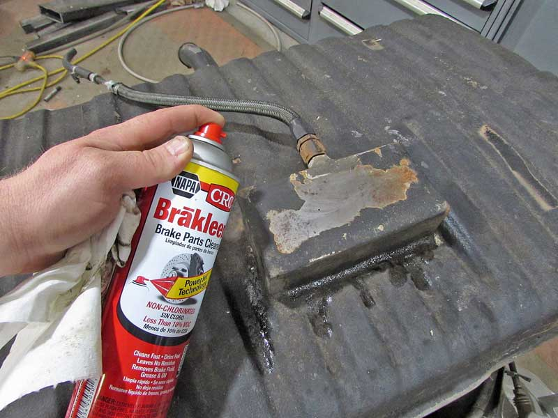 Using some CRC non-chlorinated brake cleaner, the area was cleaned and wiped dry.
