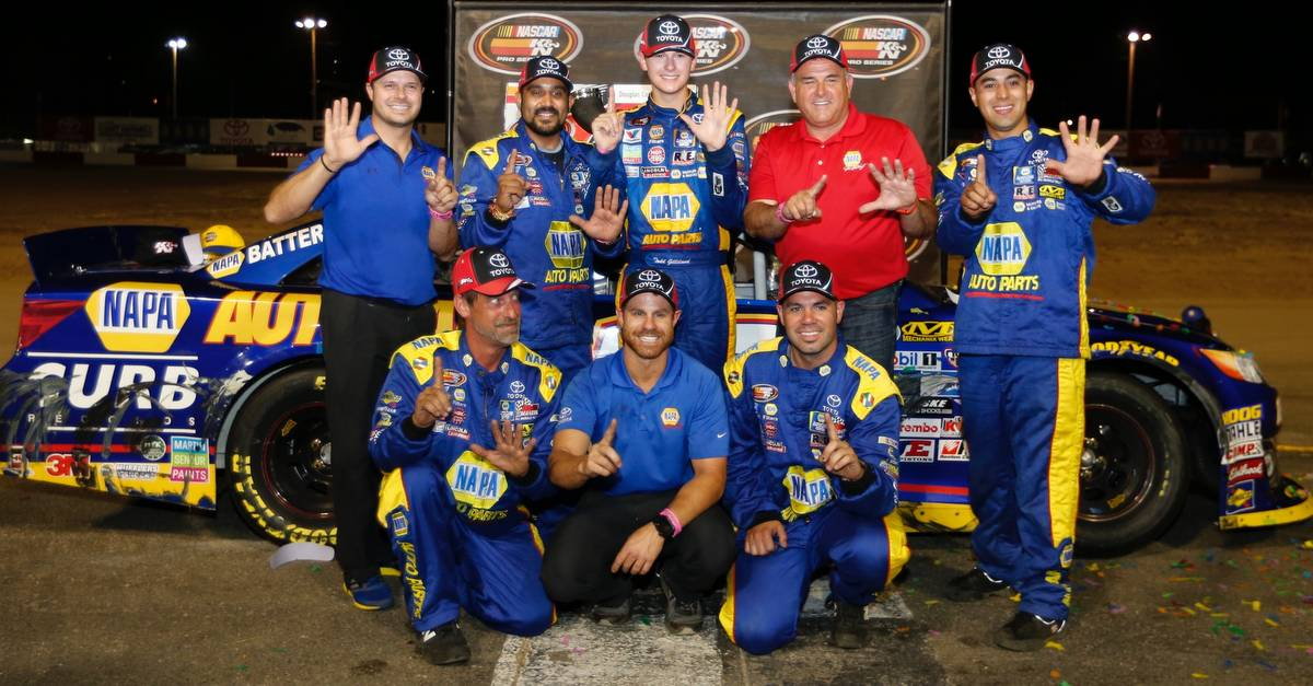 Todd-Gilliland-Douglas-County-Speedway-2017-NASCAR-KN-West-win-team-NAPA-hats
