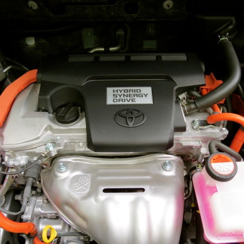 Under the hood of a 2016 Toyota RAV4 Hybrid AWD