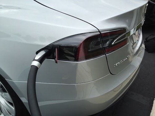 A Tesla Model S connected to a fast-charging system.