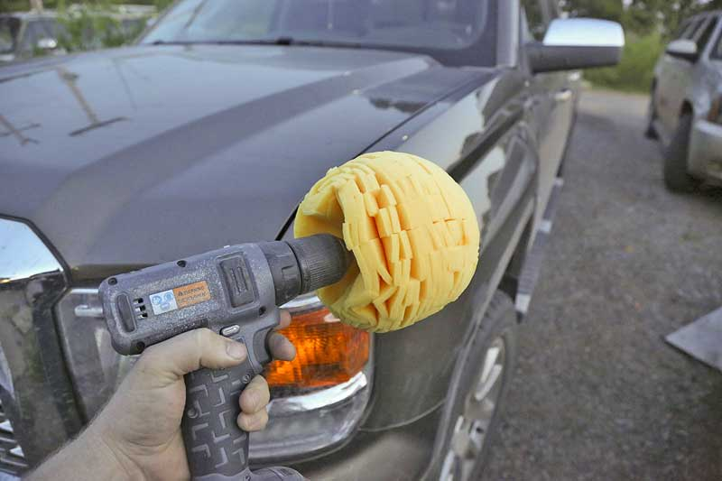 We washed the truck, dried it and set out to give the powerball a try. It was loaded into a cordless drill.