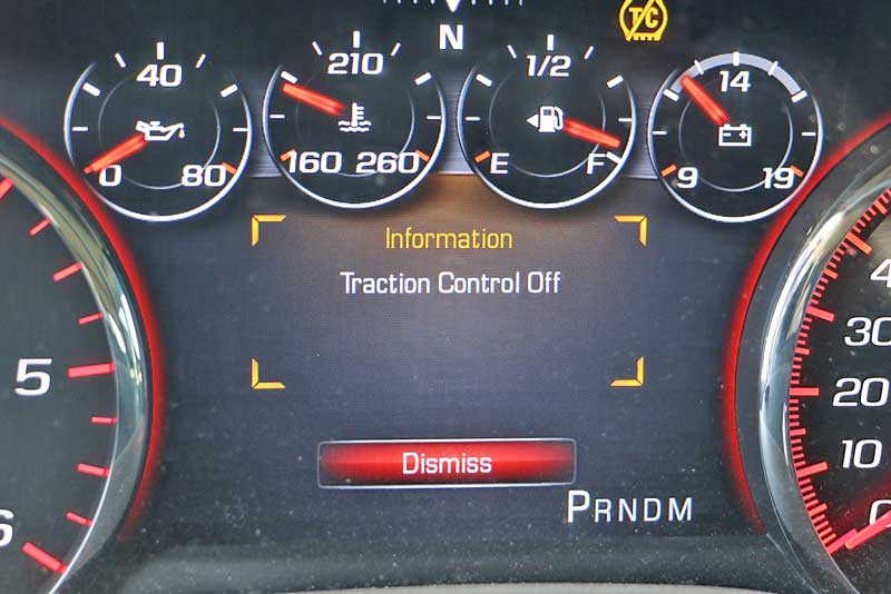 You should see some sort of notice on the dash when you have traction control turned off. On this GMC Denali, there is a warning and a yellow TC light.