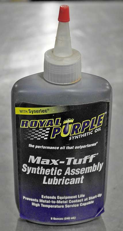 Assembly lube comes in a thick paste or in a more viscous lubricant like this one from Royal Purple. The synthetic assembly lube clings to the parts, but does not get crusty like the thick stuff can when left to sit for a long time like rebuilt engines often do.