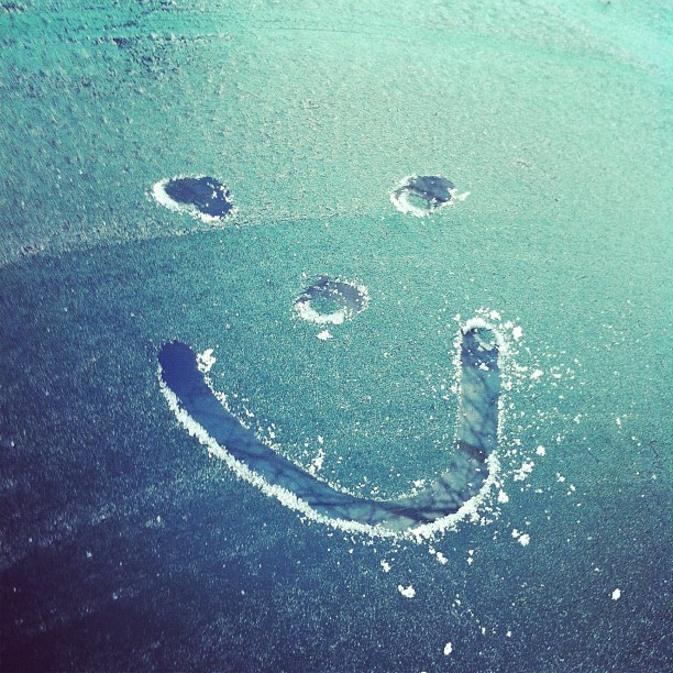 Smiley face on windshield
