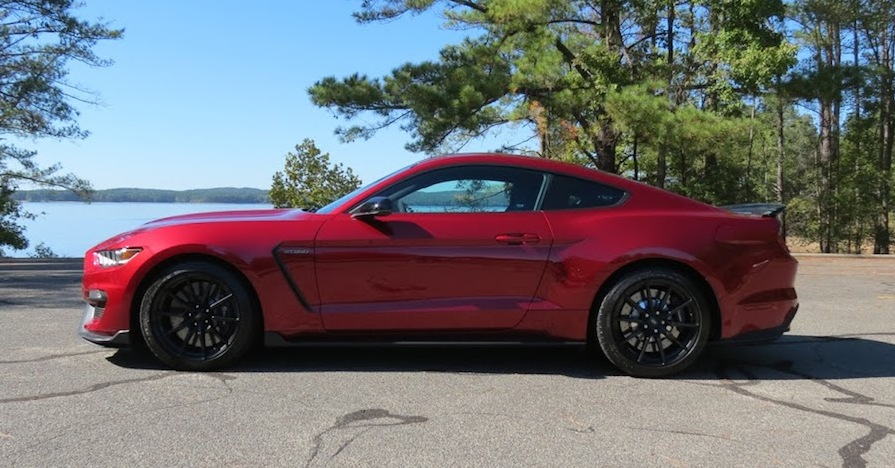 A 2017 Ford Mustang Shelby GT350 pictured at the edge of a lake in North Carolina