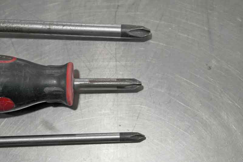 Phillips head screwdrivers are made in specific sizes to match the fastener. From the top- 3, 2, and 1. If the end of the tip is chewed up, replace it.