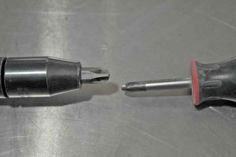 For comparison, the impact tip shown here is a #4 phillips compared to a #2 on the right.