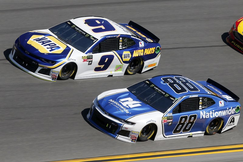 Monster Energy NASCAR Cup Series Daytona 500 Daytona International Speedway, Daytona Beach, FL USA Sunday 18 February 2018 Alex Bowman, Hendrick Motorsports, Nationwide Chevrolet Camaro Chase Elliott, Hendrick Motorsports, NAPA Auto Parts Chevrolet Camaro World Copyright: Matthew T. Thacker NKP