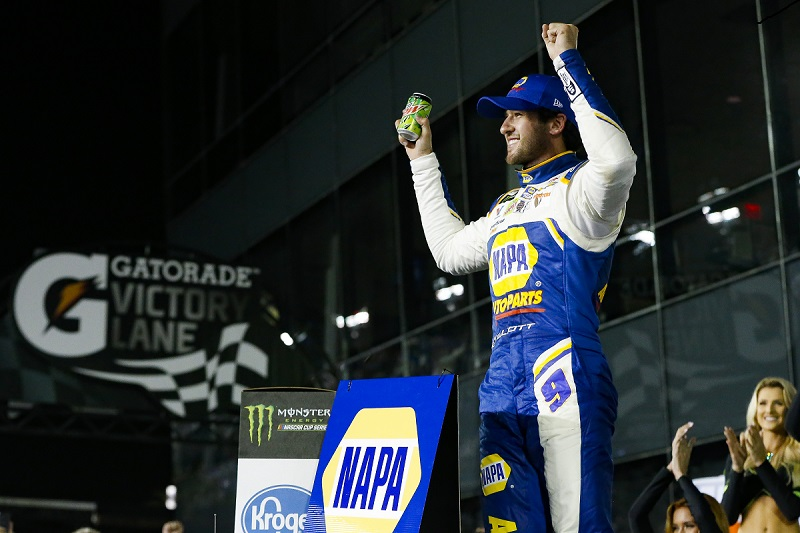 Monster Energy NASCAR Cup Series Can-Am Duel At Daytona Daytona International Speedway, Daytona Beach, FL USA Thursday 15 February 2018 Chase Elliott, Hendrick Motorsports, NAPA Auto Parts Chevrolet Camaro celebrates World Copyright: Barry Cantrell NKP