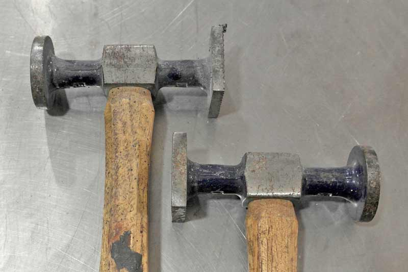 These two hammers may look the same, but they are not. They are both bumping hammers, but the one of the right has a shrinking head too.