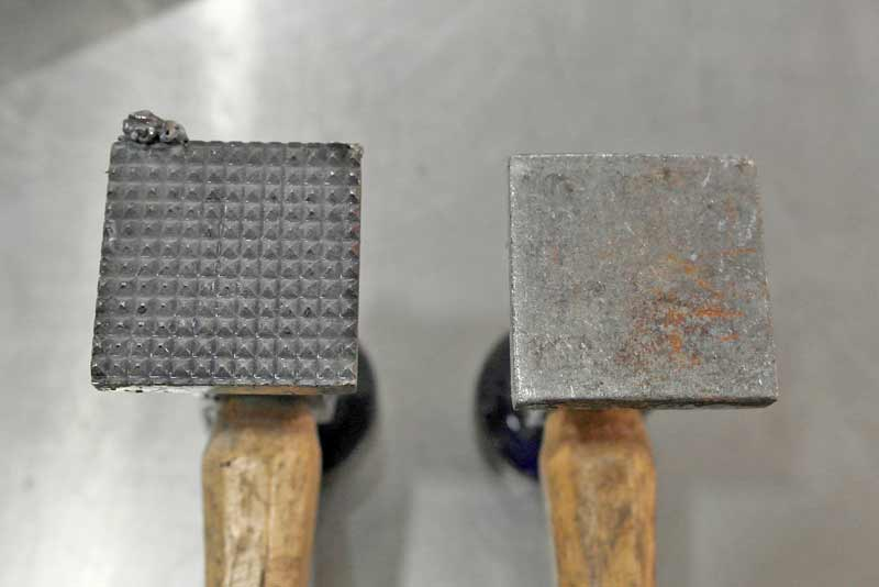 The shrinking hammer has a series of points on the surface. These are technically designed to grab and pull the metal together.