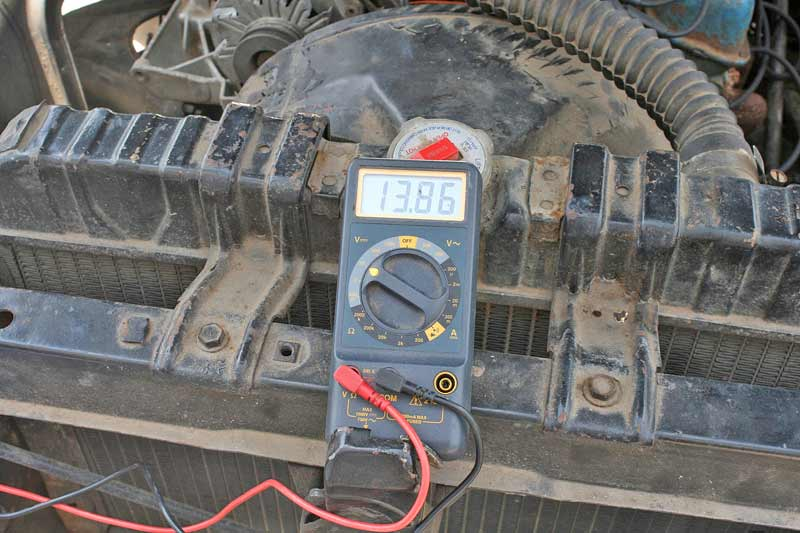 Volts DC is the main function automotive DIYers will use. Here is the meter reading the alternator output voltage while the engine is running. With the engine off, you are testing battery voltage