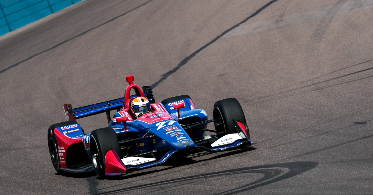 | Driver: Alexander Rossi| Team: Andretti Autosport| Number: 27| Car: Honda|| Photographer: Andy Clary| Event: Phoenix Grand Prix| Circuit: ISM Raceway| Location: Phoenix| Series: Verizon IndyCar Series| Season: 2018| Country: US|| Keyword: motorsport|| Keyword: motor racing|| Keyword: Desert Diamond West Valley Casino|| Session: P1|
