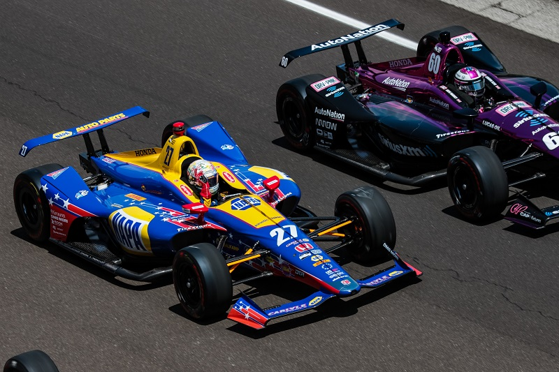 | Driver: Alexander Rossi| Team: Andretti Autosport| Number: 27| Car: Honda|| Photographer: Andy Clary| Event: Indianapolis 500 | Circuit: Indianapolis Motor Speedway| Location: Indianapolis| Series: Verizon IndyCar Series| Season: 2018| Country: US|| Session: Race|| Keyword: motor sport|| Keyword: 2018|