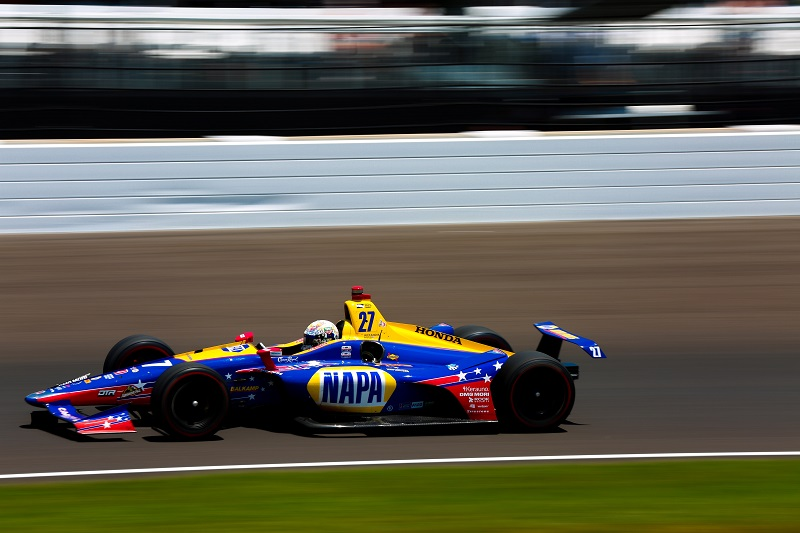 | Driver: Alexander Rossi| Team: Andretti Autosport| Number: 27| Car: Honda|| Photographer: Shivraj Gohil| Event: Indy 500 | Circuit: Indianapolis Motor Speedway| Location: Indianapolis| Series: Verizon IndyCar Series| Season: 2018| Country: US|| Session: Race|