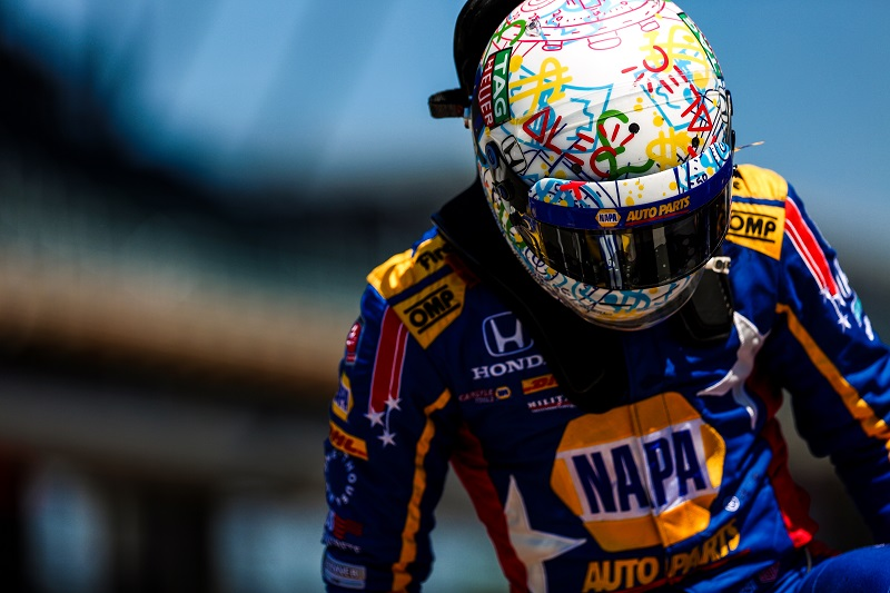| Driver: Alexander Rossi| Team: Andretti Autosport| Number: 27| Car: Honda|| Photographer: Shivraj Gohil| Event: Indy 500 | Circuit: Indianapolis Motor Speedway| Location: Indianapolis| Series: Verizon IndyCar Series| Season: 2018| Country: US|