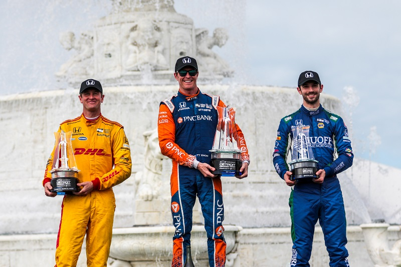 | Driver: Scott Dixon| Team: Chip Ganassi Racing| Number: 9| Car: Honda|| Driver: Alexander Rossi| Team: Andretti Autosport| Number: 27| Car: Honda|| Driver: Ryan Hunter-Reay| Team: Andretti Autosport| Number: 28| Car: Honda|| Photographer: Andy Clary| Event: Detroit Grand Prix| Circuit: Belle Isle| Location: Detroit| Series: Verizon IndyCar Series| Season: 2018| Country: US|| Keyword: Dual in Detroit|| Keyword: Detroit GP|| Session: Race|