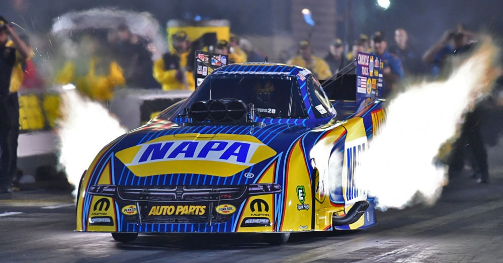 Ron-Capps-Route-66-NHRA-Nationals-2018-NAPA-Dodge-header-flames