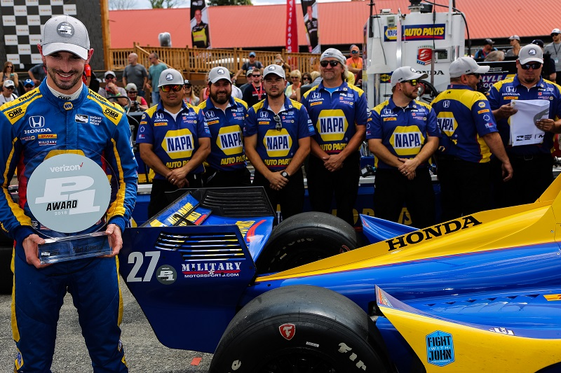 | Driver: Alexander Rossi| Team: Andretti Autosport| Number: 27| Car: Honda|| Photographer: Andy Clary| Event: Honda Indy 200| Circuit: Mid-Ohio Sportscar Course| Location: Lexington, Ohio| Series: Verizon IndyCar Series| Season: 2018| Country: US| Keyword: motor racing| Keyword: motorsport|| Session: Qualifying| | Keyword: P1|| Keyword: pole position|| Keyword: pole award|