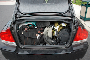 A packed trunk of a car