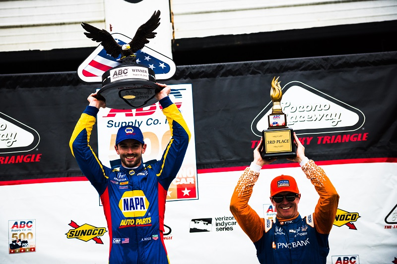 |Photographer: Jamie Sheldrick|Session: podium|Event: ABC Supply 500|Circuit: Pocono Raceway|Location: Long Pond, PA|Series: Verizon IndyCar Series|Season: 2018|Country: US|Car: Honda|Number: 27|Team: Andretti Autosport|Driver: Alexander Rossi|