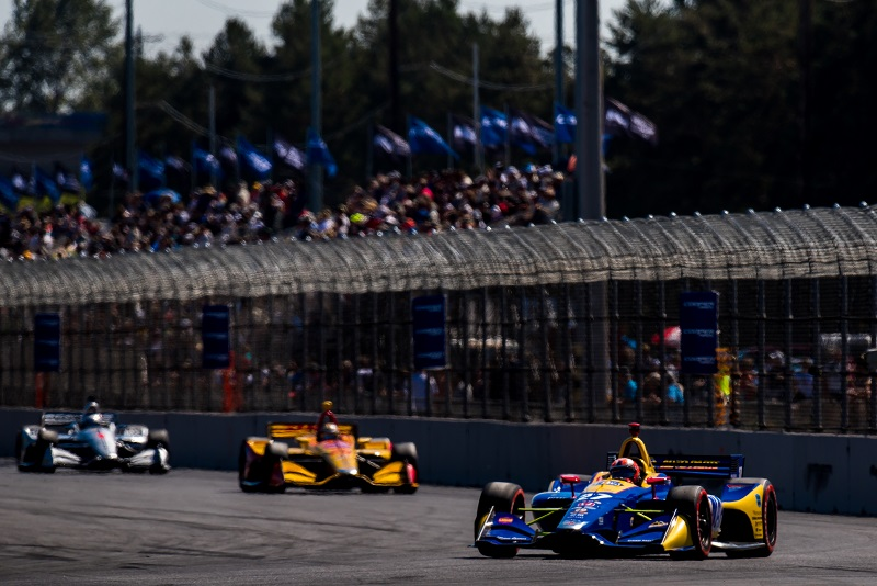 | Photographer: Dan Bathie| Event: Grand Prix of Portland | Circuit: Portland International Raceway| Location: Portland, OR| Series: Verizon IndyCar Series| Season: 2018| Country: US| Keyword: motor racing| Keyword: motorsport| | Session: Race| | Driver: Alexander Rossi| Team: Andretti Autosport| Number: 27| Car: Honda| | Driver: Ryan Hunter-Reay| Team: Andretti Autosport| Number: 28| Car: Honda| | Driver: Josef Newgarden| Team: Team Penske| Number: 1| Car: Chevrolet|