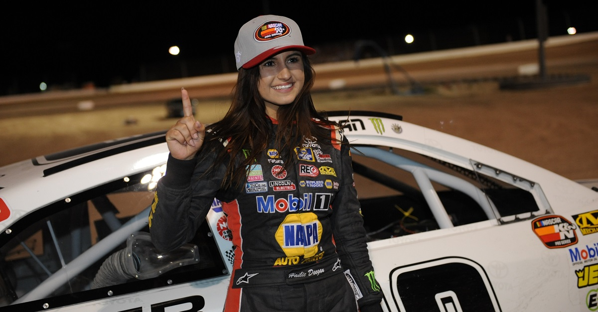 Hailie Deegan NAPA Power Premium Plus Toyota first female K&N pole winner