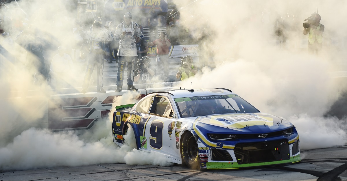 #9: Chase Elliott, Hendrick Motorsports, Chevrolet Camaro NAPA Auto Parts, celebrates after winning in Dover.